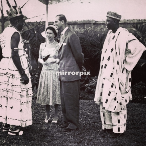 Obi Okosi with Zik and Queen Elizabeth and Prince Phillip