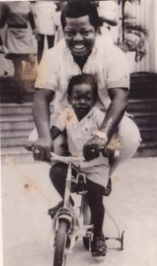 Obi Asika as a toddler with his late father Ukpabi Asika