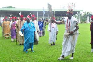 Obi Achebe dancing to the royal drum (egwu ota)
